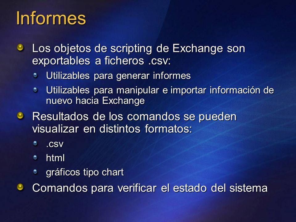 Informes Los objetos de scripting de Exchange son exportables a ficheros.csv: Utilizables para generar informes Utilizables para manipular e importar