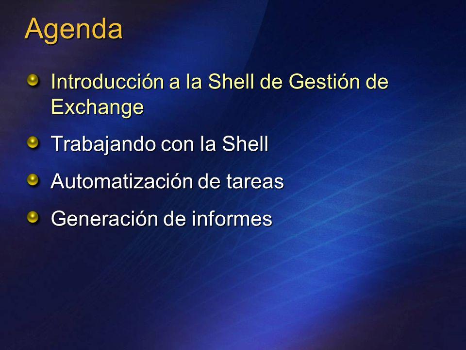 PowerShell Engine Exchange cmdlets AD Registro E2007 Store Frontera entre procesos WinForms PowerShell Data Provider Línea de comandos Interfaz gráfica Modelo de administración