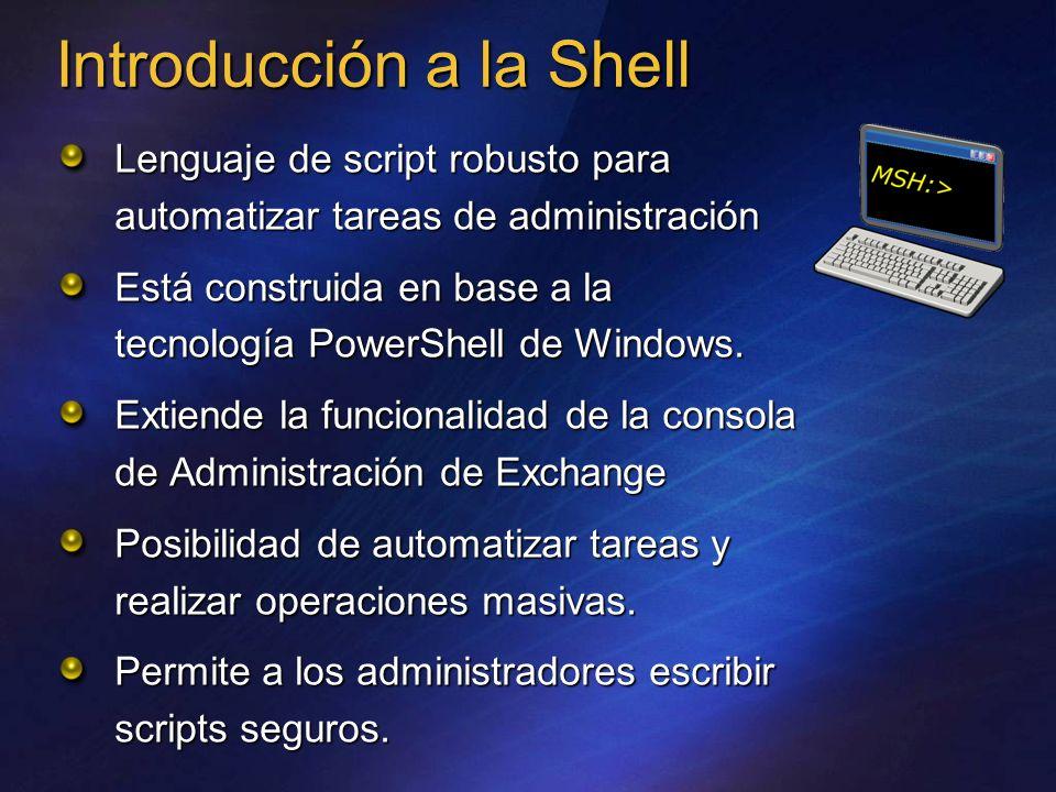 Orientada a objetos Uso de espacio de nombres para agrupar comandos y objetos Concatenación de comandos Acceso a los comandos de la consola CMD Protección ante scripts que no son de confianza