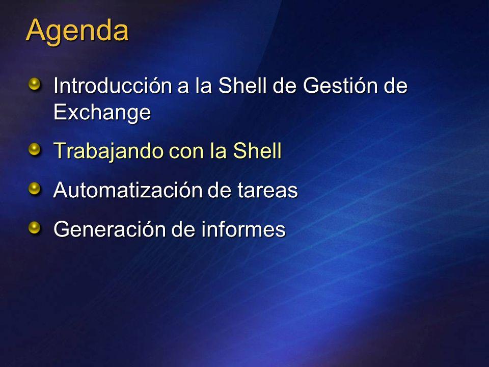 MSH> get-mailbox –server smbex01 VerboNombre Valor ComandoParámetro Estructura de la Shell Nombre de las propiedades Valor de las propiedades Name Alias Server StorageQuota ---- ---- ------ ------------ Bob Kelly bobk smbex01 unlimited Kim Akers kima smbex01 unlimited