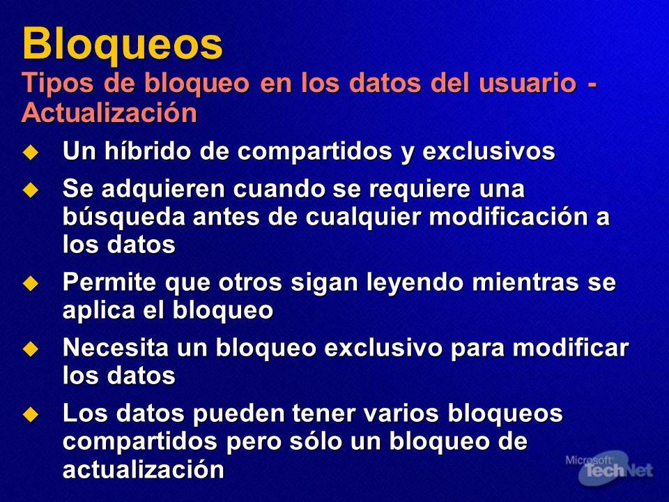 Bloqueos Tipos de bloqueo en los datos del usuario - Actualización Un híbrido de compartidos y exclusivos Un híbrido de compartidos y exclusivos Se ad