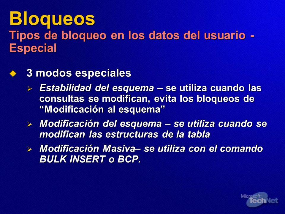 Bloqueos Tipos de bloqueo en los datos del usuario - Especial 3 modos especiales 3 modos especiales Estabilidad del esquema – se utiliza cuando las co