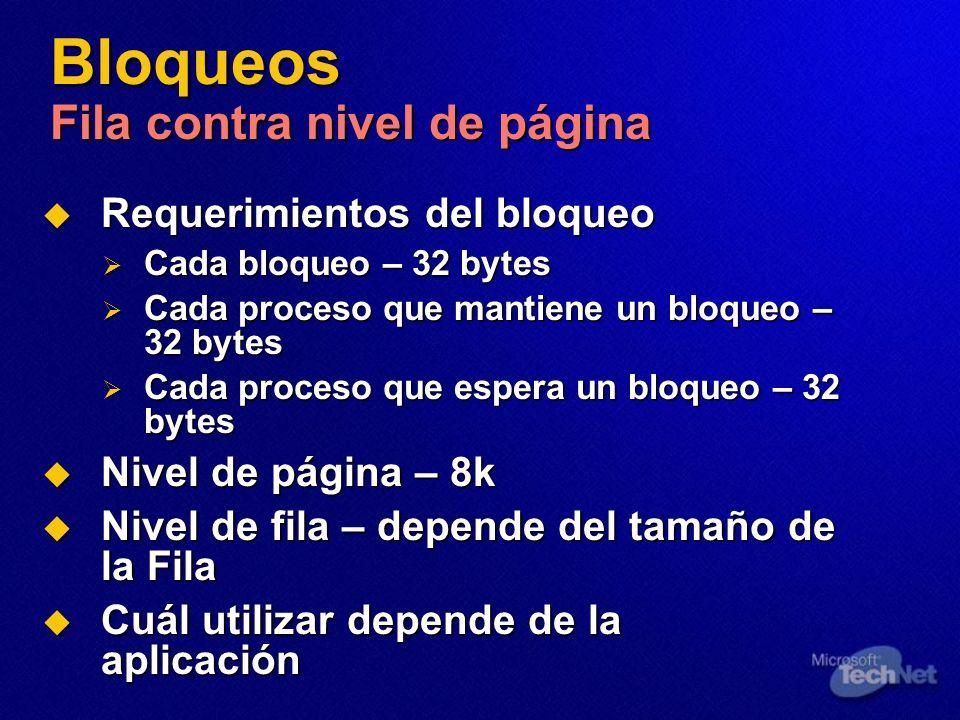 Bloqueos Fila contra nivel de página Requerimientos del bloqueo Requerimientos del bloqueo Cada bloqueo – 32 bytes Cada bloqueo – 32 bytes Cada proces