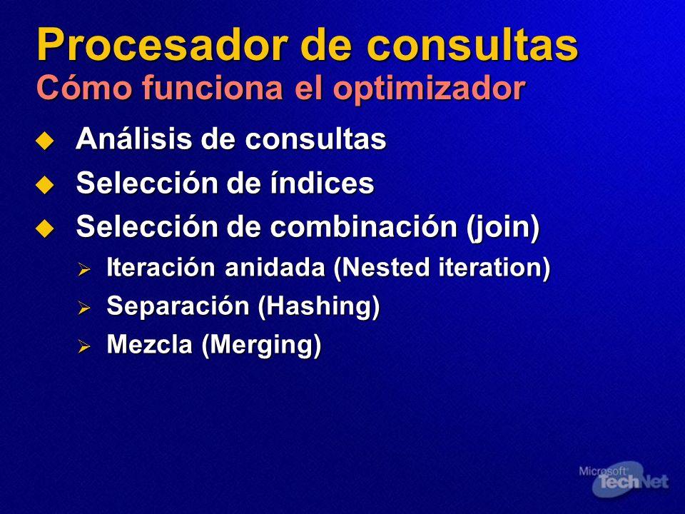 Procesador de consultas Cómo funciona el optimizador Análisis de consultas Análisis de consultas Selección de índices Selección de índices Selección d