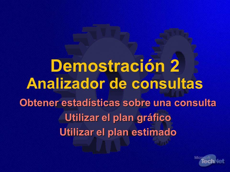 Demostración 2 Analizador de consultas Obtener estadísticas sobre una consulta Utilizar el plan gráfico Utilizar el plan estimado