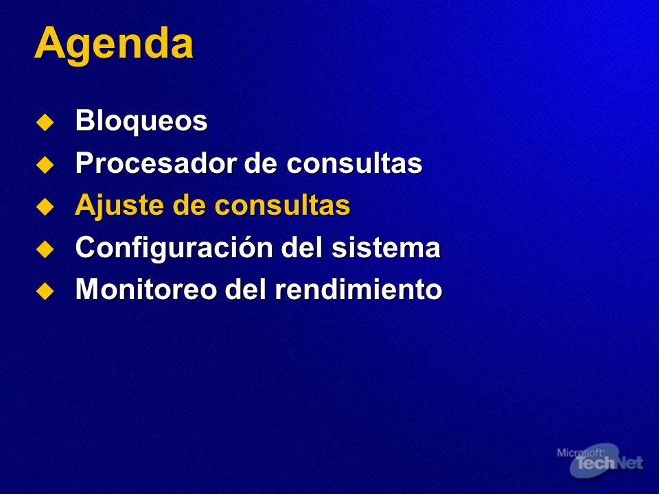 Agenda Bloqueos Bloqueos Procesador de consultas Procesador de consultas Ajuste de consultas Ajuste de consultas Configuración del sistema Configuraci
