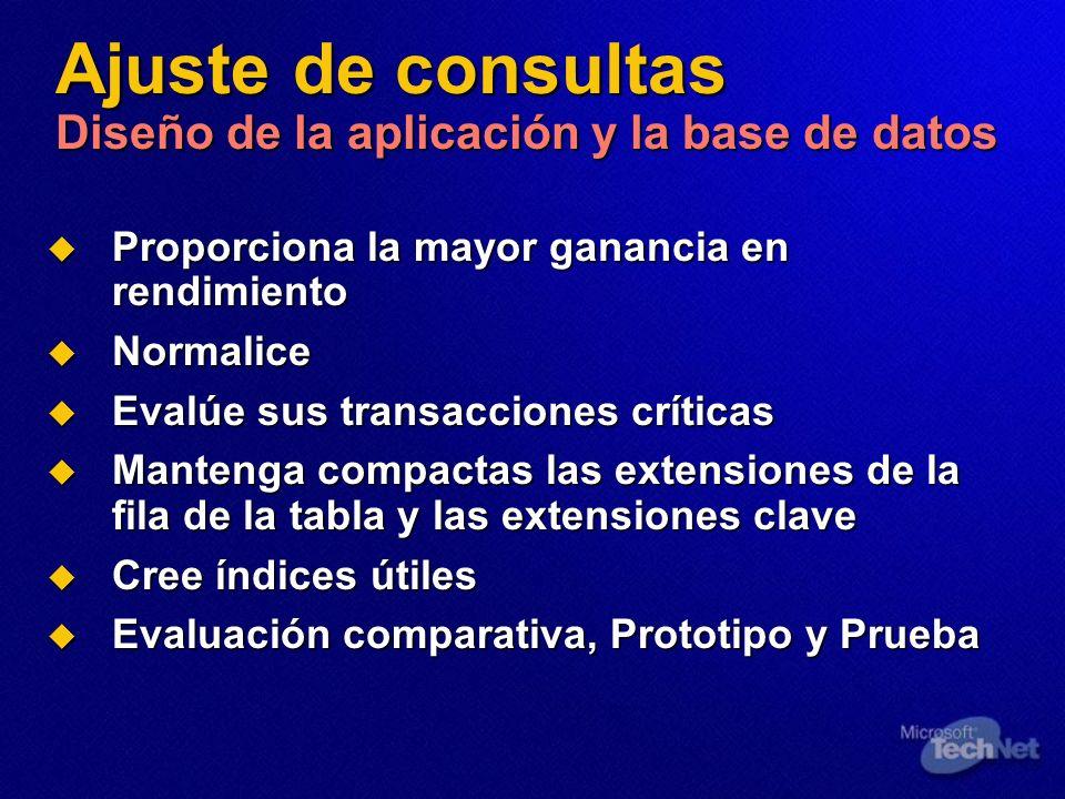 Ajuste de consultas Diseño de la aplicación y la base de datos Proporciona la mayor ganancia en rendimiento Proporciona la mayor ganancia en rendimien