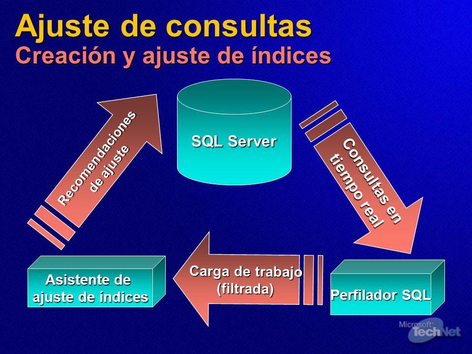 SQL Server Perfilador SQL Asistente de ajuste de índices Recomendaciones de ajuste Recomendaciones de ajuste Consultas en tiempo real Carga de trabajo