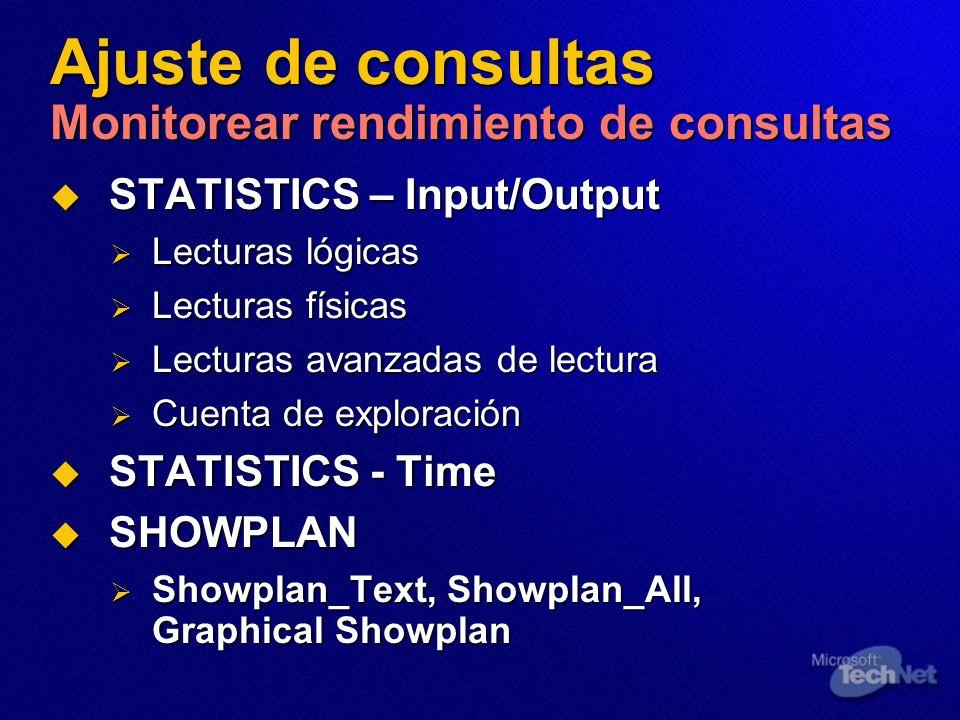 Ajuste de consultas Monitorear rendimiento de consultas STATISTICS – Input/Output STATISTICS – Input/Output Lecturas lógicas Lecturas lógicas Lecturas