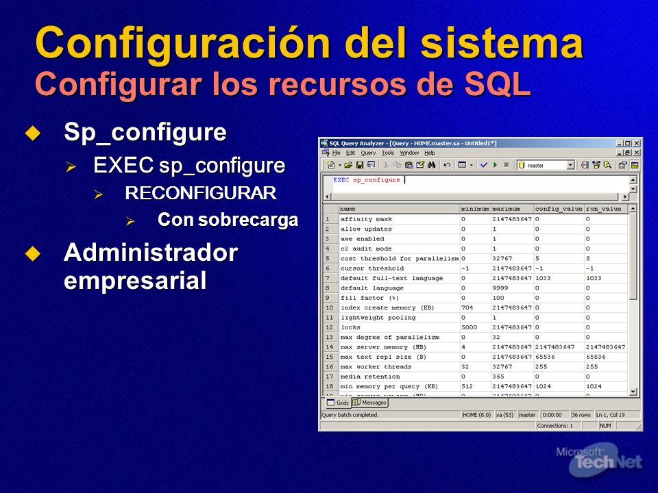 Configuración del sistema Configurar los recursos de SQL Sp_configure Sp_configure EXEC sp_configure EXEC sp_configure RECONFIGURAR RECONFIGURAR Con s