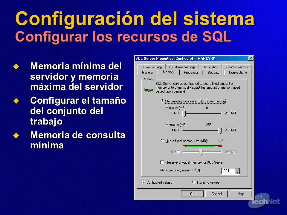 Configuración del sistema Configurar los recursos de SQL Memoria mínima del servidor y memoria máxima del servidor Memoria mínima del servidor y memor