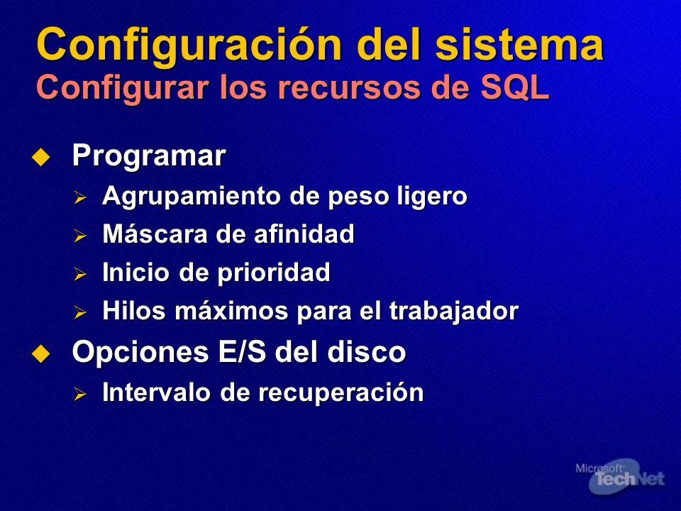 Configuración del sistema Configurar los recursos de SQL Programar Programar Agrupamiento de peso ligero Agrupamiento de peso ligero Máscara de afinid