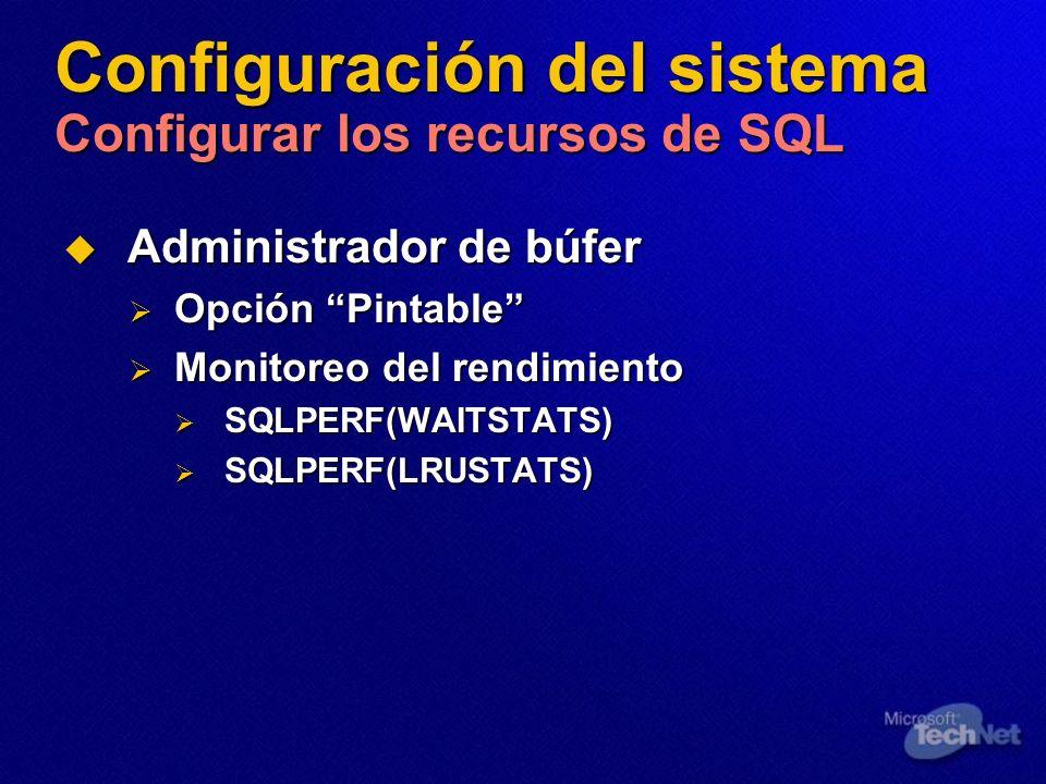 Configuración del sistema Configurar los recursos de SQL Administrador de búfer Administrador de búfer Opción Pintable Opción Pintable Monitoreo del r