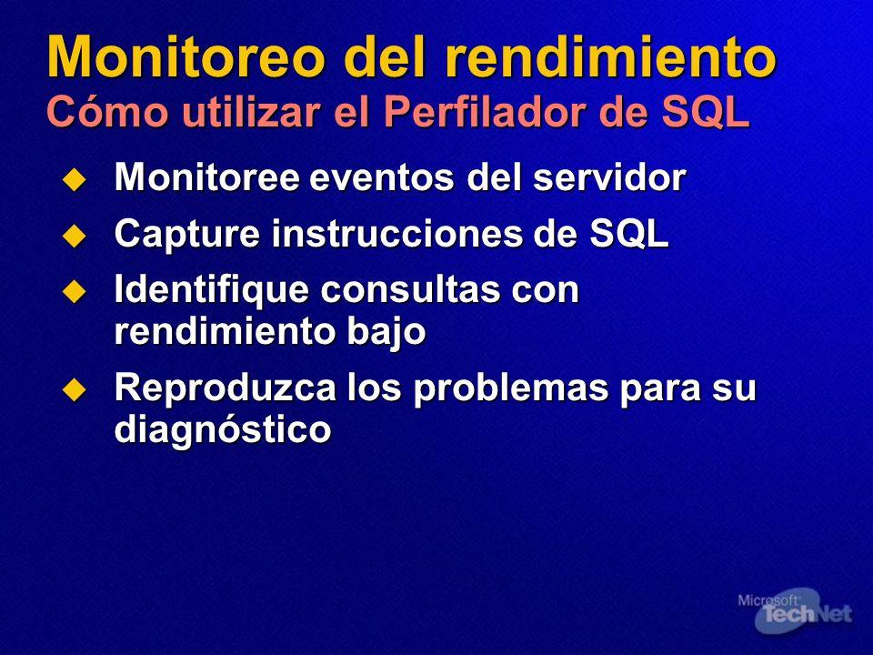 Monitoreo del rendimiento Cómo utilizar el Perfilador de SQL Monitoree eventos del servidor Monitoree eventos del servidor Capture instrucciones de SQ