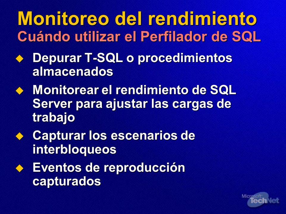 Monitoreo del rendimiento Cuándo utilizar el Perfilador de SQL Depurar T-SQL o procedimientos almacenados Depurar T-SQL o procedimientos almacenados M