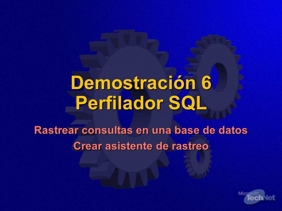 Demostración 6 Perfilador SQL Rastrear consultas en una base de datos Crear asistente de rastreo