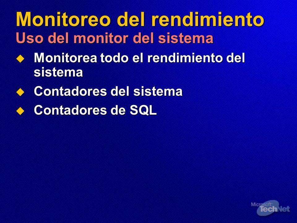 Monitoreo del rendimiento Uso del monitor del sistema Monitorea todo el rendimiento del sistema Monitorea todo el rendimiento del sistema Contadores d