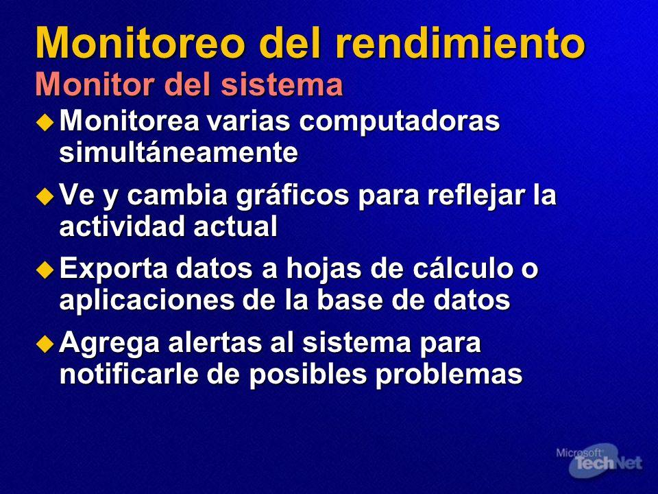 Monitoreo del rendimiento Monitor del sistema Monitorea varias computadoras simultáneamente Monitorea varias computadoras simultáneamente Ve y cambia