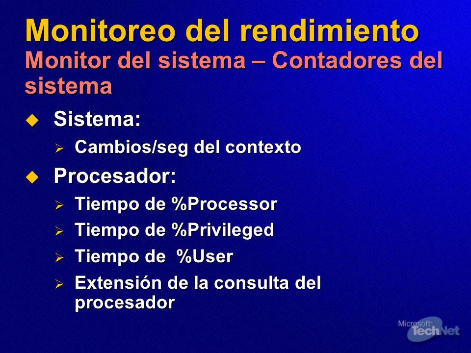 Monitoreo del rendimiento Monitor del sistema – Contadores del sistema Sistema: Sistema: Cambios/seg del contexto Cambios/seg del contexto Procesador: