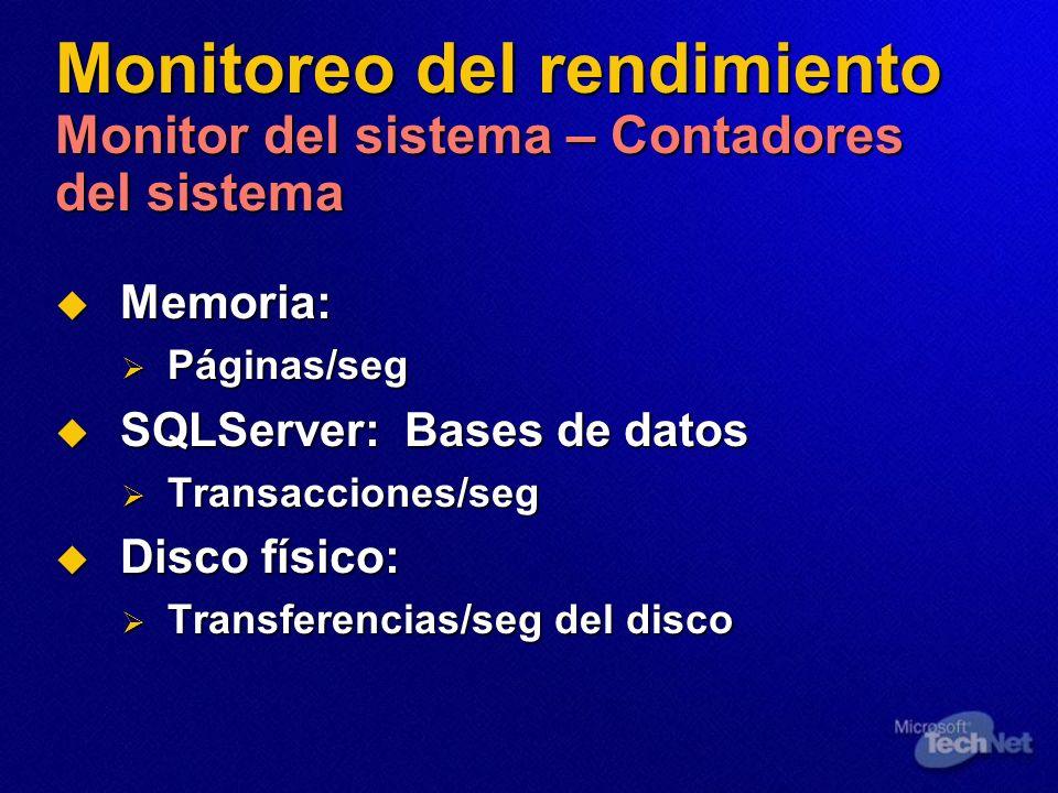 Monitoreo del rendimiento Monitor del sistema – Contadores del sistema Memoria: Memoria: Páginas/seg Páginas/seg SQLServer: Bases de datos SQLServer:
