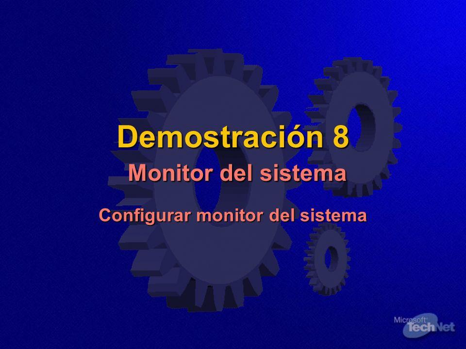 Demostración 8 Monitor del sistema Configurar monitor del sistema