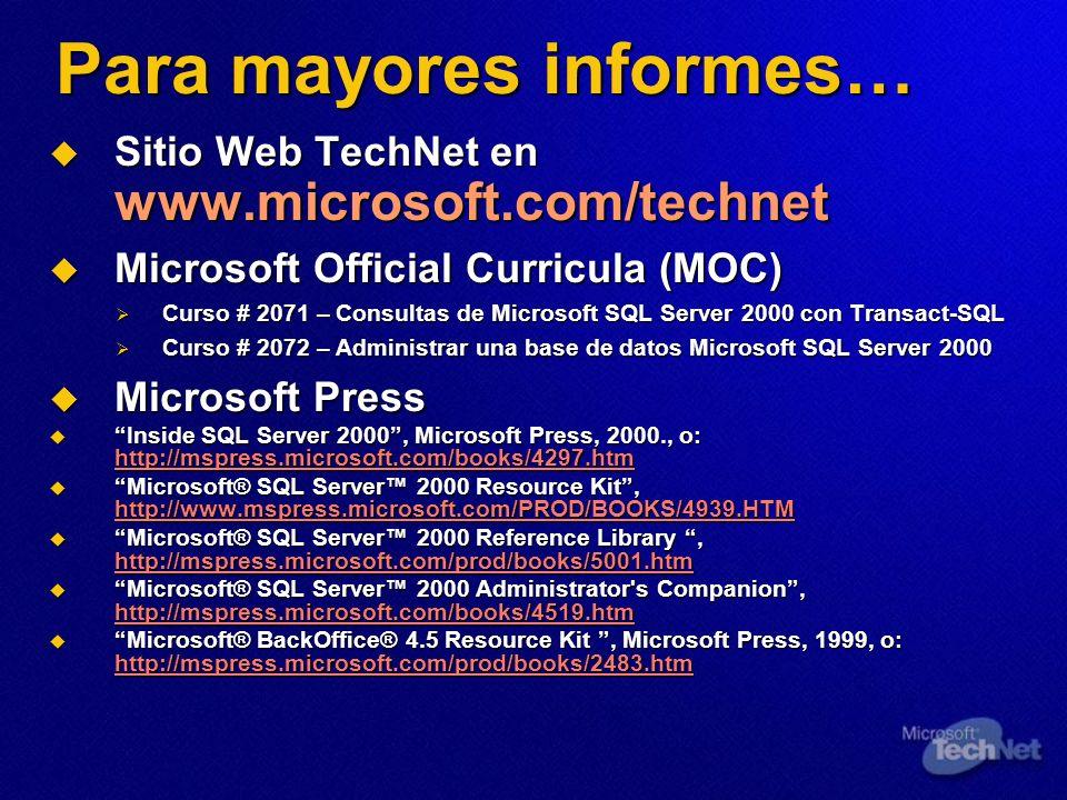 Para mayores informes… Sitio Web TechNet en www.microsoft.com/technet Sitio Web TechNet en www.microsoft.com/technet Microsoft Official Curricula (MOC