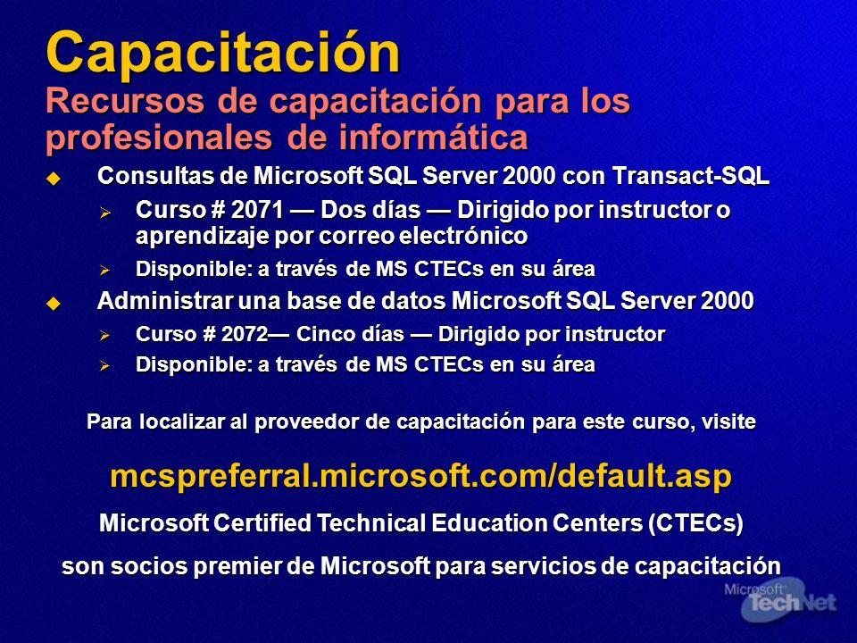 Capacitación Recursos de capacitación para los profesionales de informática Consultas de Microsoft SQL Server 2000 con Transact-SQL Consultas de Micro