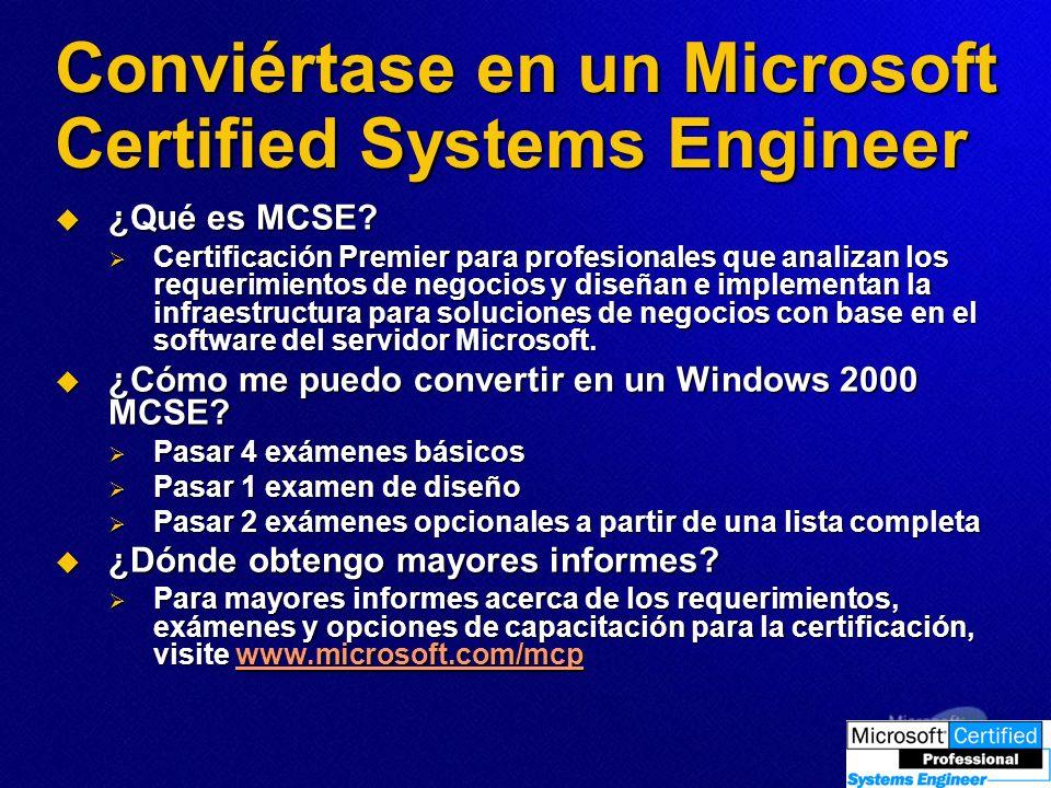 Conviértase en un Microsoft Certified Systems Engineer ¿Qué es MCSE? ¿Qué es MCSE? Certificación Premier para profesionales que analizan los requerimi