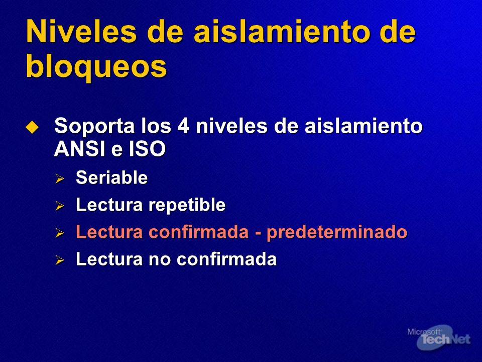 Niveles de aislamiento de bloqueos Soporta los 4 niveles de aislamiento ANSI e ISO Soporta los 4 niveles de aislamiento ANSI e ISO Seriable Seriable L