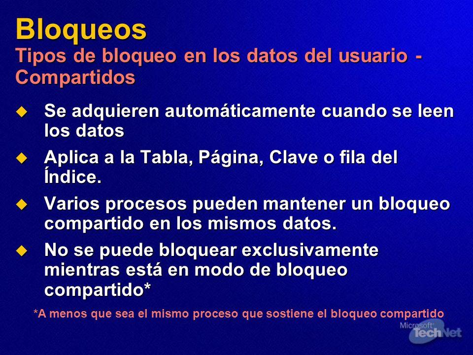 Bloqueos Tipos de bloqueo en los datos del usuario - Compartidos Se adquieren automáticamente cuando se leen los datos Se adquieren automáticamente cu