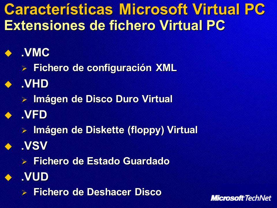 Características Microsoft Virtual PC Extensiones de fichero Virtual PC.VMC.VMC Fichero de configuración XML Fichero de configuración XML.VHD.VHD Imáge
