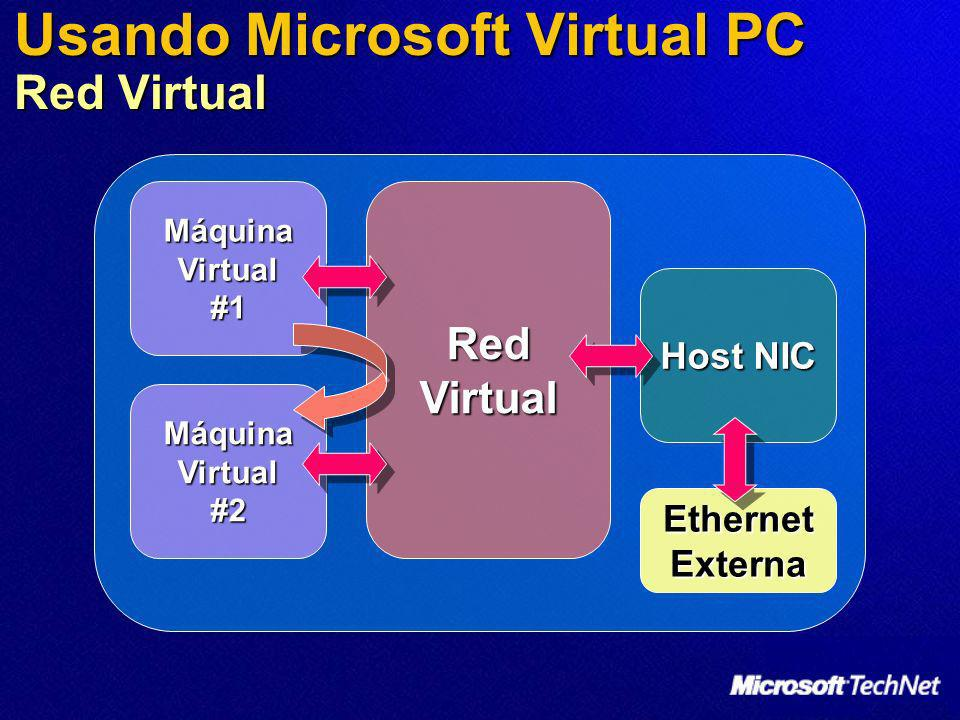 Usando Microsoft Virtual PC Red Virtual Máquina Virtual #1 Máquina Virtual #2 Red Virtual Host NIC Ethernet Externa
