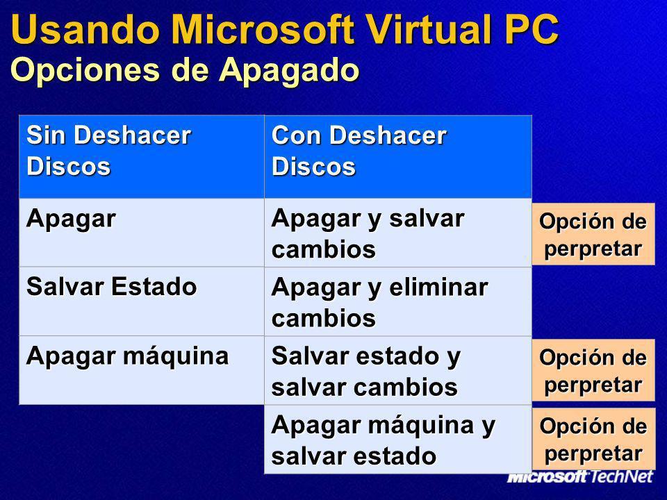 Opción de perpretar Usando Microsoft Virtual PC Opciones de Apagado Sin Deshacer Discos Apagar Salvar Estado Apagar máquina Con Deshacer Discos Apagar
