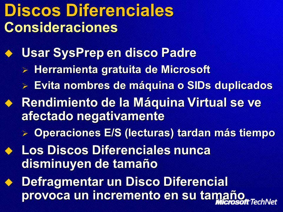 Discos Diferenciales Consideraciones Usar SysPrep en disco Padre Usar SysPrep en disco Padre Herramienta gratuita de Microsoft Herramienta gratuita de