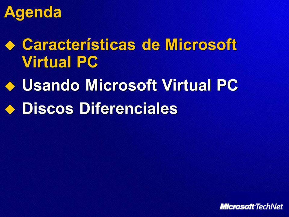 Agenda Características de Microsoft Virtual PC Características de Microsoft Virtual PC Usando Microsoft Virtual PC Usando Microsoft Virtual PC Discos Diferenciales Discos Diferenciales