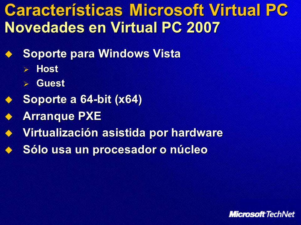 Características Microsoft Virtual PC Requisitos del sistema operativo Guest Guest OS Hard Disk Memory MS-DOS 6.22 50 MB 32 MB Windows 95 500 MB 32 MB Windows 98 500 MB 64 MB Windows Me 2 GB 96 MB Windows 2000 2 GB 96 MB Windows NT 4.0 1 GB 64 MB Windows XP 2 GB 128 MB OS/2 500 MB 64 MB
