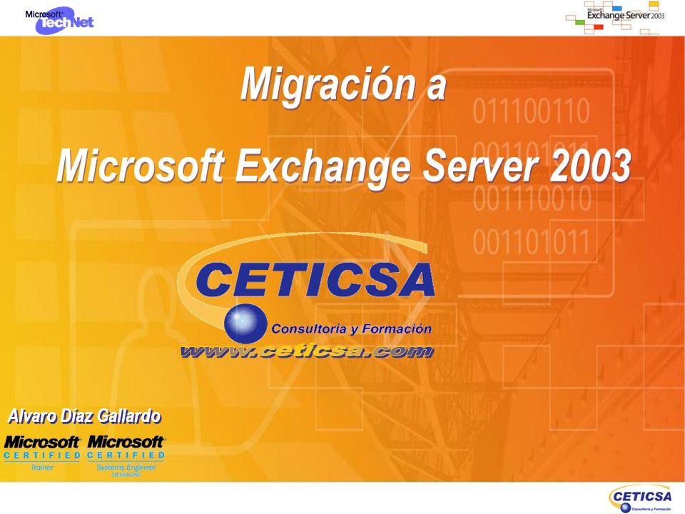 Coexistencia en sitios Exchange 5.5 La coexistencia de configuración es el proceso de compartir la información entre Active Directory y el directorio de Exchange 5.5 La coexistencia de mensajería es el proceso de envio y enrutamiento de mensajes entre servidores Exchange 5.5, Exchange 2000 (en su caso) y Exchange 2003 La coexistencia de carpetas públicas es el proceso de replicación de la información de carpetas públicas entre servidores Exchange Tras haber instalado el primer servidor Exchange 2000 o 2003 la organización está en modo mixto Automáticamente se crea el Acuerdo de Configuración La coexistencia de configuración es el proceso de compartir la información entre Active Directory y el directorio de Exchange 5.5 La coexistencia de mensajería es el proceso de envio y enrutamiento de mensajes entre servidores Exchange 5.5, Exchange 2000 (en su caso) y Exchange 2003 La coexistencia de carpetas públicas es el proceso de replicación de la información de carpetas públicas entre servidores Exchange Tras haber instalado el primer servidor Exchange 2000 o 2003 la organización está en modo mixto Automáticamente se crea el Acuerdo de Configuración Exchange Server 5.5 Exchange Exchange2003Exchange2003 León Coexistencia de mensajería Coexistencia Coexistencia de Configuración Coexistencia Active Directory Instalación Exchange 2003 Arrancar la instalación de Exchange 2003 Establecer componentes y servicios Exchange 2003 a instalar Elegir opción de unirlo a una organización Exchange 5.5 Elegir opción de unirlo a una organización Exchange 5.5 Elegir el servidor Exchange 5.5 próximo Credenciales de la cuenta de servicio Exchange 5.5 Instalación de componentes Exchange y establecimiento del acuerdo de conexión de configuración