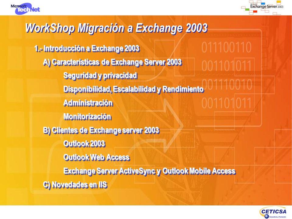 WorkShop Migración a Exchange 2003 1.- Introducción a Exchange 2003 A) Características de Exchange Server 2003 Seguridad y privacidad Disponibilidad,