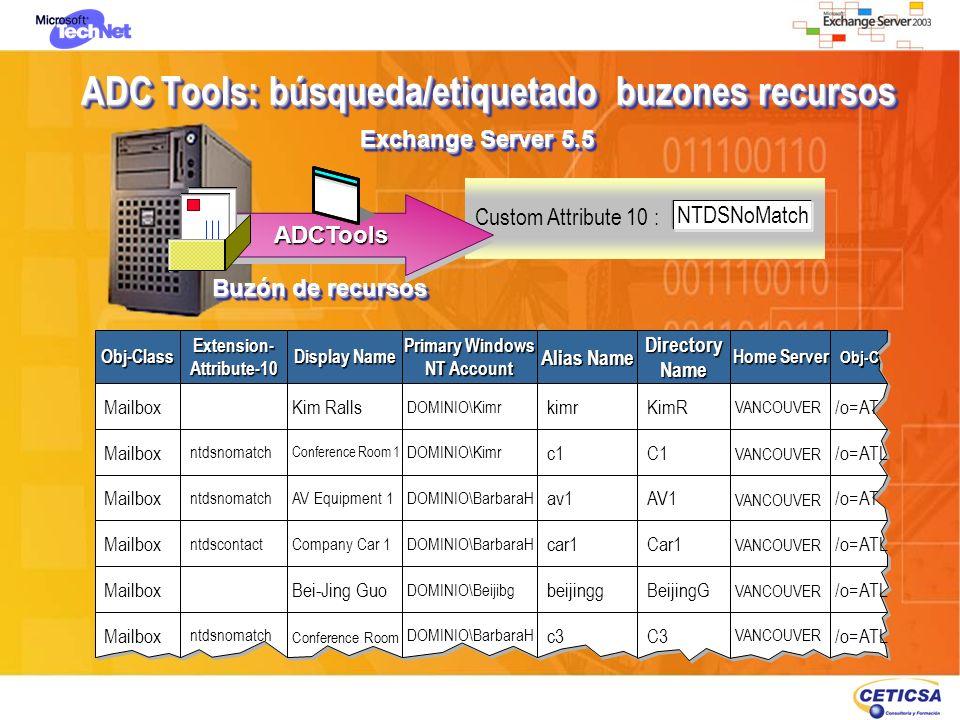 ADC Tools: búsqueda/etiquetado buzones recursos Custom Attribute 10 : NTDSNoMatch Buzón de recursos Exchange Server 5.5 ADCToolsADCTools Obj-ClassObj-