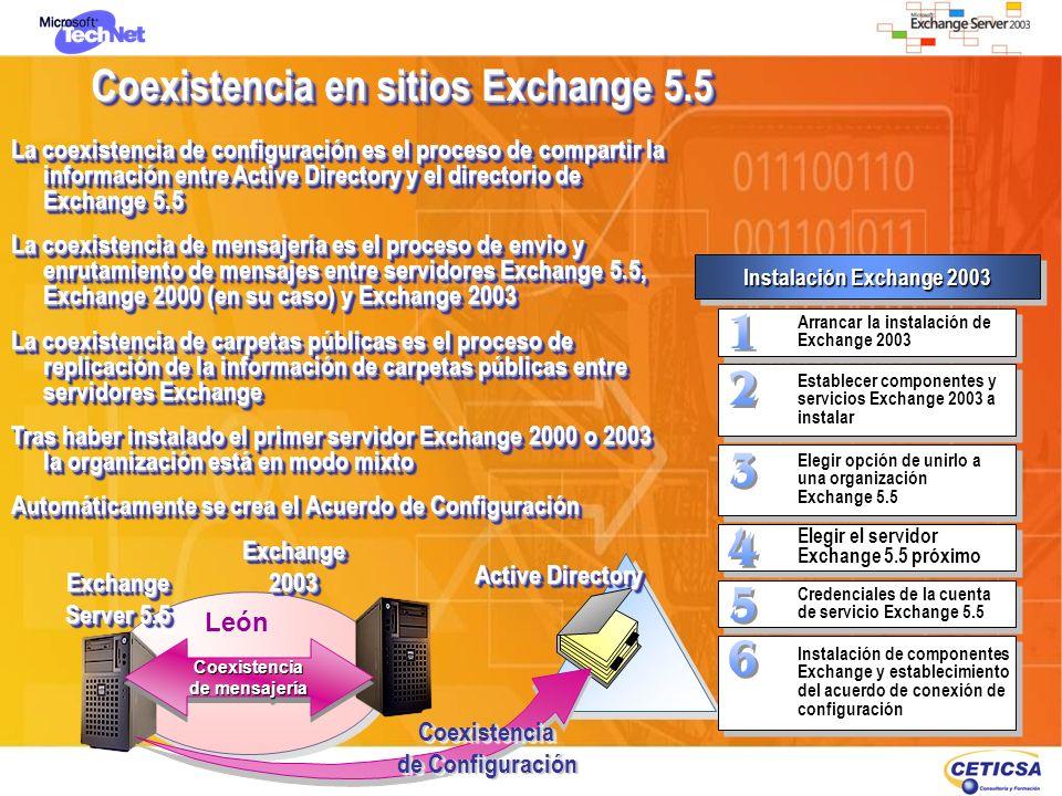 Coexistencia en sitios Exchange 5.5 La coexistencia de configuración es el proceso de compartir la información entre Active Directory y el directorio