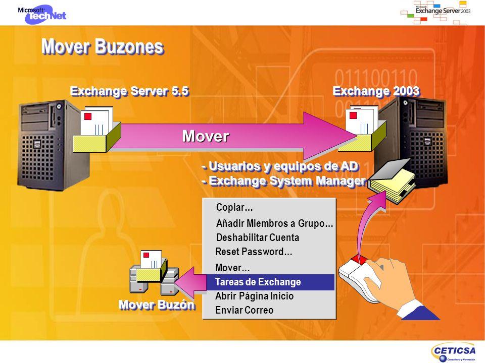 Mover Buzones Exchange 2003 MoverMover Exchange Server 5.5 Copiar… Añadir Miembros a Grupo… Deshabilitar Cuenta Reset Password… Mover… Tareas de Excha