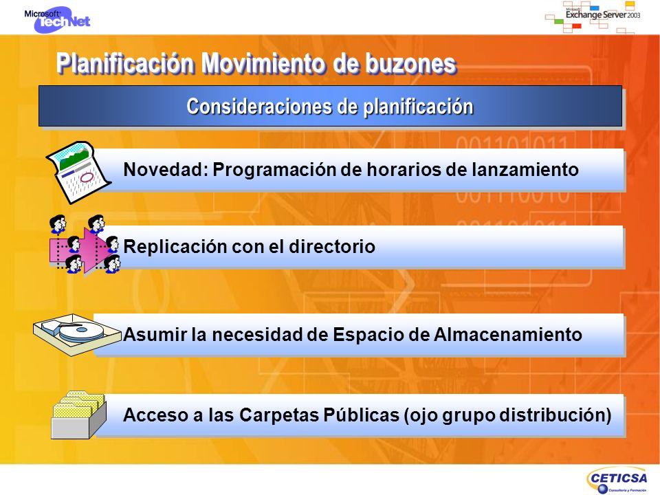 Planificación Movimiento de buzones Consideraciones de planificación Acceso a las Carpetas Públicas (ojo grupo distribución) Replicación con el direct