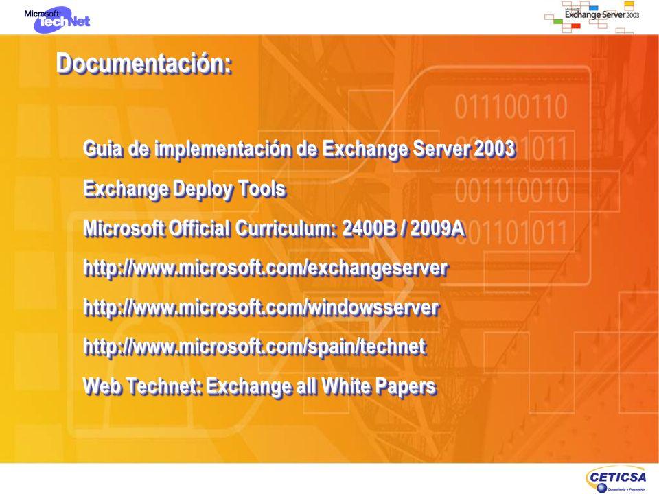 Documentación:Documentación: Guia de implementación de Exchange Server 2003 Exchange Deploy Tools Microsoft Official Curriculum: 2400B / 2009A http://