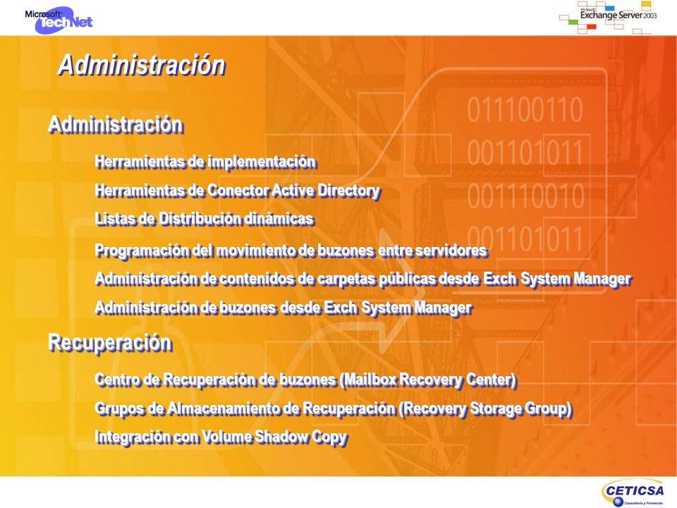 Arquitecturas y correlación de servicios en servidores Exchange Exchange 2000 / 2003 Exchange Server 5.5 Active Directory Active Directory PUB1.EDB PUB1.STM Priv1.EDB Priv1.STM Conectores PUB.EDB Priv.EDB dir.EDB ntds.DIT Directorio