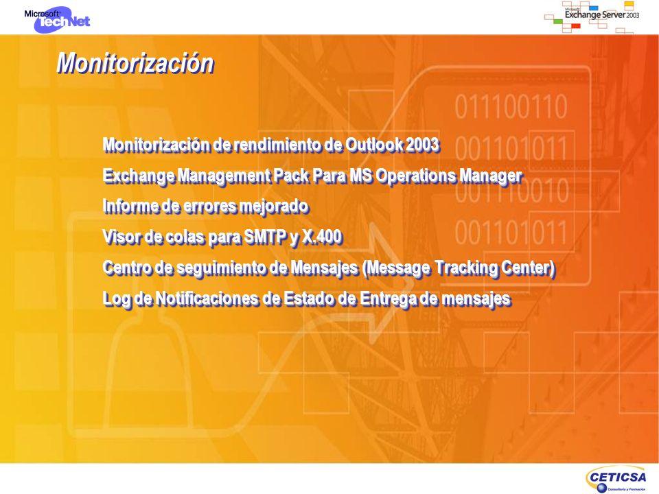 Monitorización Monitorización de rendimiento de Outlook 2003 Exchange Management Pack Para MS Operations Manager Informe de errores mejorado Visor de