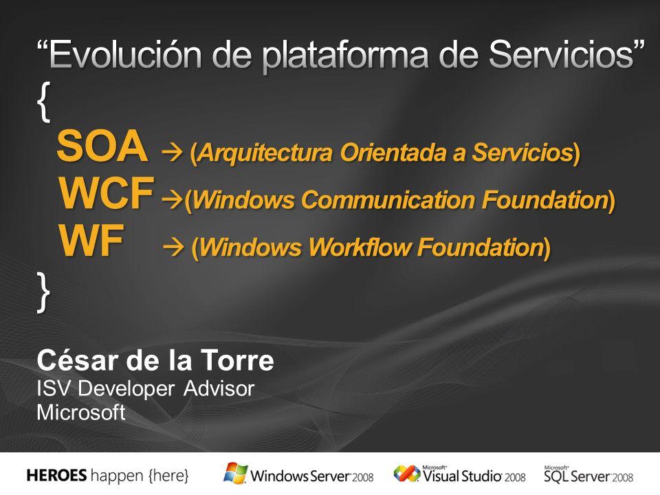 Workflow + Servicios Implementa Servicios-WCF con un workflow Integración entre WCF y WF simplificada Proporciona Servicios de larga duración y persistentes Consume Servicios-WCF dentro de un workflow Llama a servicios-WCF con actividades de workflow Integración entre WCF y WF Nuevas Actividades de WF (Send y Receive)