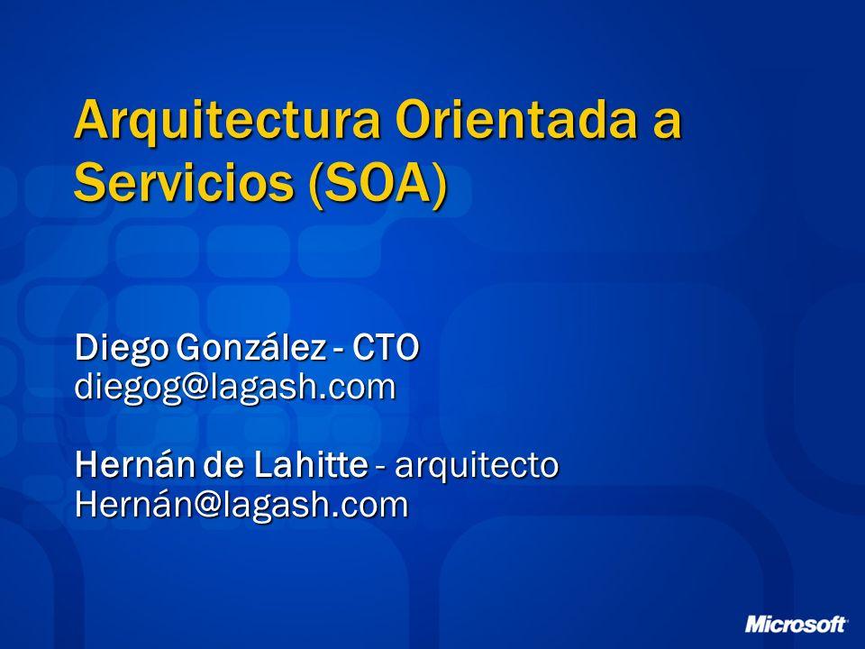 Arquitectura Orientada a Servicios (SOA) Diego González - CTO diegog@lagash.com Hernán de Lahitte - arquitecto Hernán@lagash.com