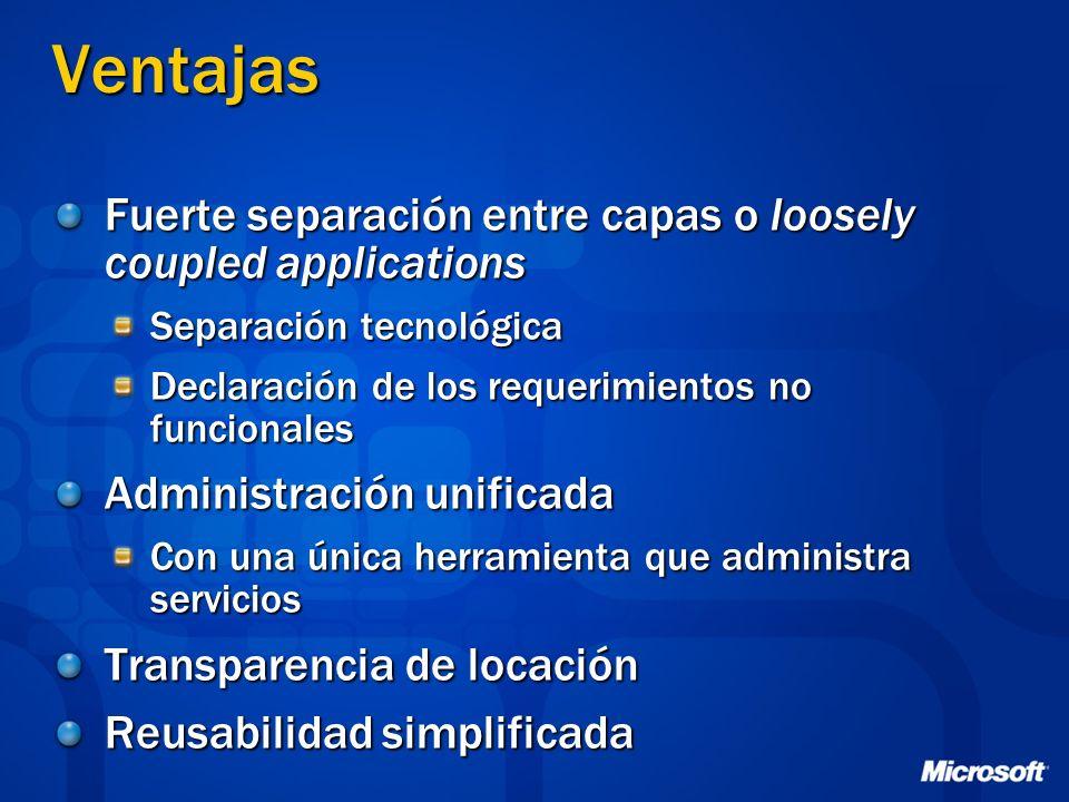 Ventajas Fuerte separación entre capas o loosely coupled applications Separación tecnológica Declaración de los requerimientos no funcionales Administ