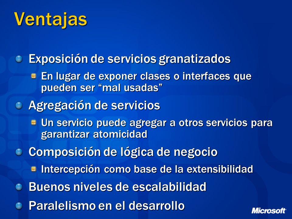 Ventajas Exposición de servicios granatizados En lugar de exponer clases o interfaces que pueden ser mal usadas Agregación de servicios Un servicio pu