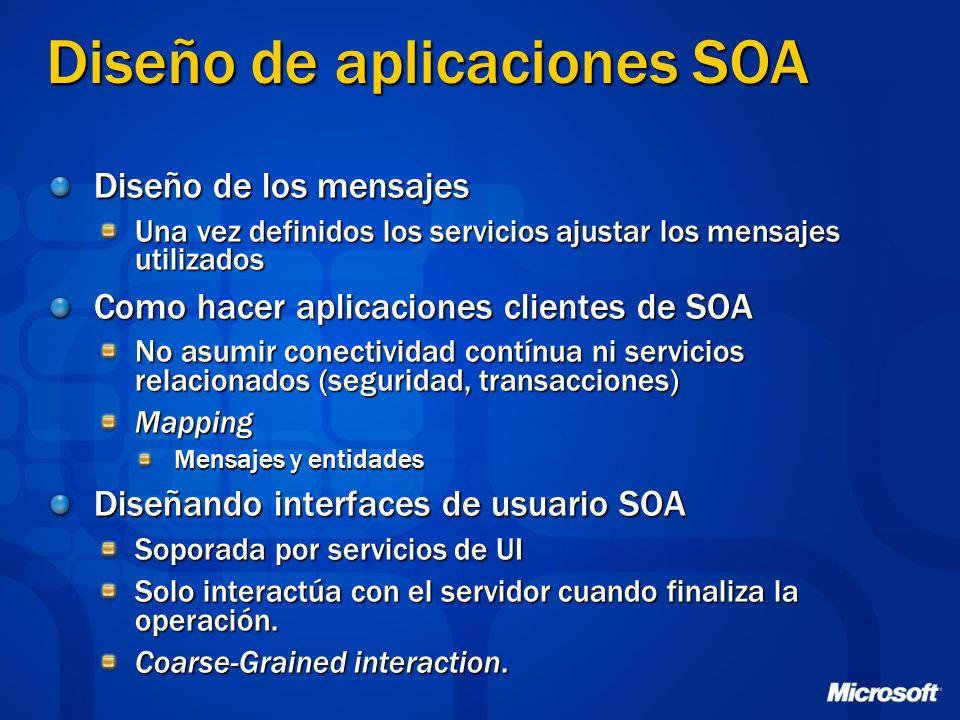 Diseño de aplicaciones SOA Diseño de los mensajes Una vez definidos los servicios ajustar los mensajes utilizados Como hacer aplicaciones clientes de